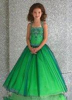 Hot Sale Green Halter Style Flower Girl Pageant Wedding Dress  Size2-10