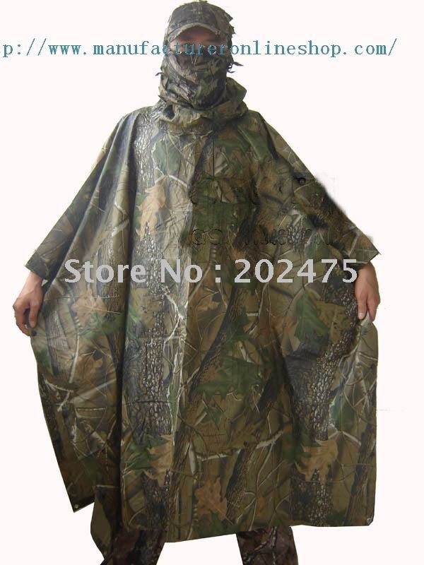 Free shiping outdoor bionic camouflage WATERPROOF HOODED ARMY RIPSTOP RAIN PONCHO RIANCOAT hunting hiking raincoat(China (Mainland))