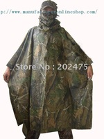Free shiping outdoor bionic camouflage WATERPROOF HOODED  ARMY RIPSTOP  RAIN PONCHO RIANCOAT hunting hiking raincoat