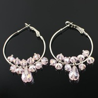 Chic Ladies Colorful Tear Drop Crystal Ear Rings/Dangle Earrings Hook, Accept Paypal/OEM/Mix Order/Wholesale