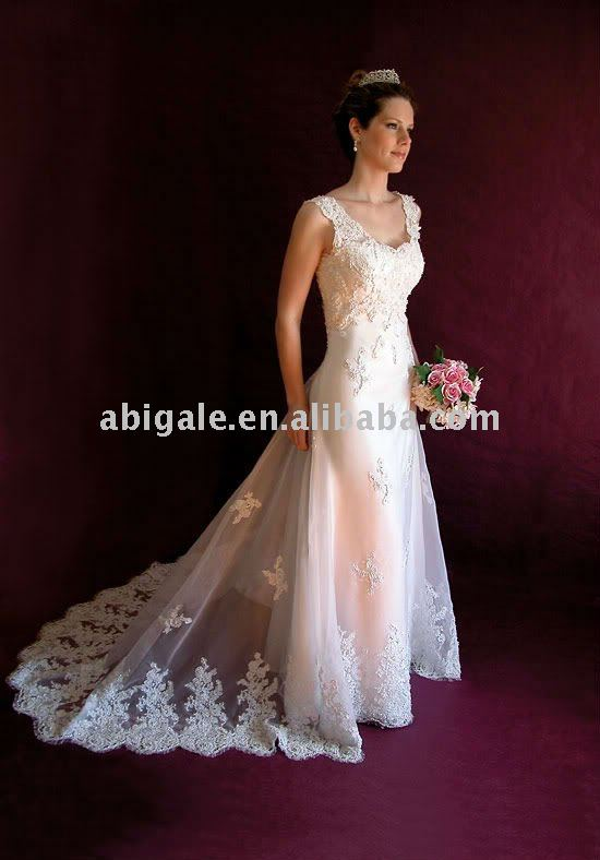 Spaghetti Strap Chiffon Designer Brand Wedding Dress(China (Mainland))