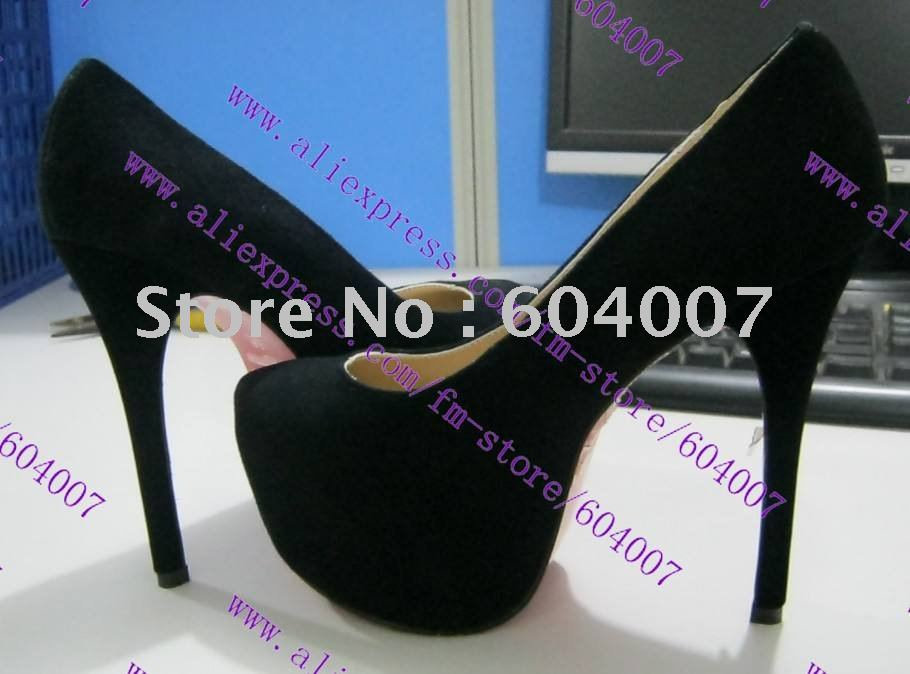 free shipping brand red sole Daffodil 160 black suede platform pumps black, 2013 spring new arrival high heel open toe shoes(China (Mainland))