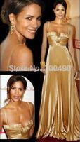 Free Shipping GOLD Soft Satin Long Gowns Sexy Red Carpet Dress Vestido De Fiesta Boutique Celebrity Dresses 2014