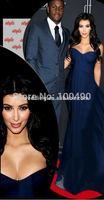 Dark Navy Blue Sexy Pluning Neckline Kim Kardashian Celebrity Dresses Vestidos De Boda