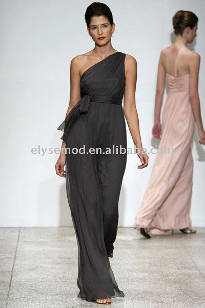 2011 Well Designed One Shoulder Grey Bridesmaid Dress Chiffon New Style(China (Mainland))