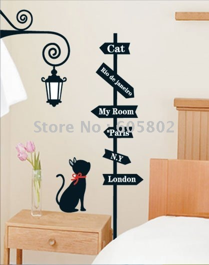 Free shipping, DIY Decoration Wall Sticker,cat and street light paper sticker,cartoon wall decals,HL5804(Hong Kong)