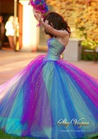 Fast Free Shipping! KR2 Colourful Tulle Strapless Cocktail Dress