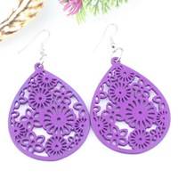 Chinese Style Ladies Oval Flower Hollow Wooden Earrings/Drop Earrings Hook, Accept Paypal/OEM/Mix Order/Wholesale