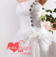 2013 high quality wedding dress floor length bridal dress sweep brush train sleeveless strapless bow flower 683