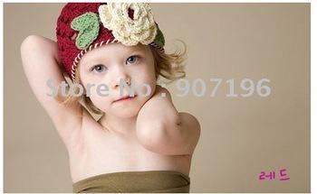 60pcs Handmade Cotton Crochet Hat Cap Beanie Baby Mixed style hot Toddler Girl hats