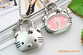 hello kitty pocket watch hello kitty  sweater chain fashion necklace  watch 3 colors + Free shipping +wholesale 50pcs/lots