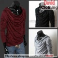 Fashion hood pile collar design trends Korean men Slim long-sleeved T shirt men's shirt,TS44
