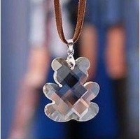free shipping necklace chain Paragraph cool crystal clear crystal bear necklace brown sweater necklace 6g 046