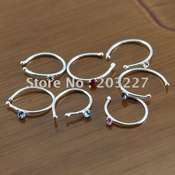 free shipping!New Arrival Nose Piercing Hot sell Nose Ring 925 Silver Nose screw,Indian nose pin,Tongue studs mixed Color(China (Mainland))