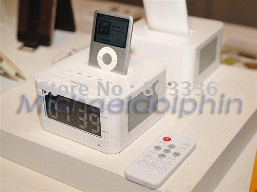 5pcs/lot! LCD Speaker FM Radio & Alarm Clock Charging Dock For IPhone iPod, Fast Shipping!(China (Mainland))