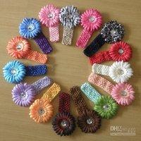 200pc Baby's girl's CROCHET headband daisy flower waffle string headbands flowers Hair band SUOYIYAO