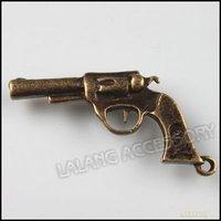 60pcs/lot Fashion Antique Bronze Charms Alloy Pendants Wholesale Revolver Dangle Bead Fit Jewelry Making 140257