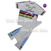 Mix size Custom wholesale 2011 Orbea White World Champion Short Sleeve Cycling Jersey And BIB Shorts