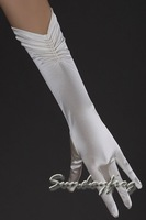 Fast Free Shipping Ivory Lycra Beaded Elbow Wedding/ Special Occasion Gloves Hot Sale Top Quality Gloves -Glove41