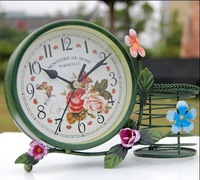 Free shipping wholesale and retail Europe garden style iron desk clock with pencil vase/ deco clock