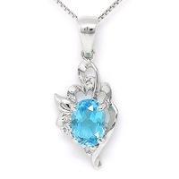 Topaz silver jewelry 925 sterling silver pendant necklace blue topaz jewelry SR0388B