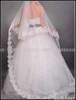 TS101-Free Shipping  White/Ivory Luxury 3M 1Layer Wedding Veil Bridal computer embroidered edge Veil Lace Long Wedding Veil