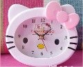 Free shipping 10pcs/Lot New Hello Kitty Plastic Table Desk Swing Alarm Clock ( Color: Pink, Red)
