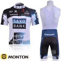 Free shipping 2010 SAXO BANK team cycling jersey+bib shorts size S-XXXL