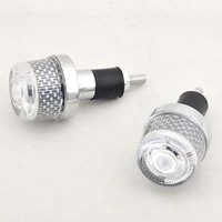 2 x 125 Motorcycle Handlebar Hand Grips Plug Flash Light Free Shipping [P08]