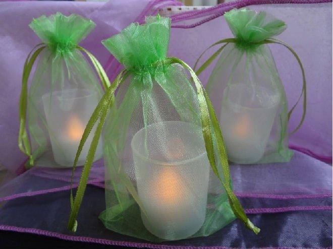 FREE SHIPPING--100PCS 10x15cm Light Green Sheer Organza Wedding Favour Party decor Gift Bag(China (Mainland))