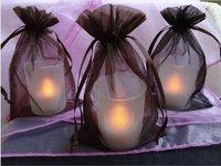 FREE SHIPPING--100PCS 10x15cm Dark Brown Sheer Organza Wedding Favour Party decor Gift Bag