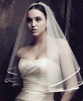 Wholesale - - hot sale 2011 white one layers Fingertip Length Tulle pencil Edge Applique Wedding Veil
