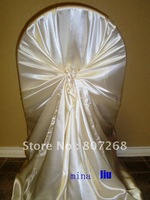 Free shipping- ivory self-tie satin chair cover-satin chair bag-satin wrap chair cover
