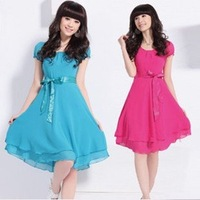 2011 new, fashion dress, Bright Colored Dress, Lace short sleeve chiffon dress, light blue, navy blue, red, black, free shipping