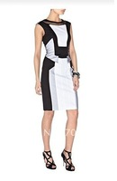 Free shipment  2013 New fashion UK Graphic panel dress with black mesh