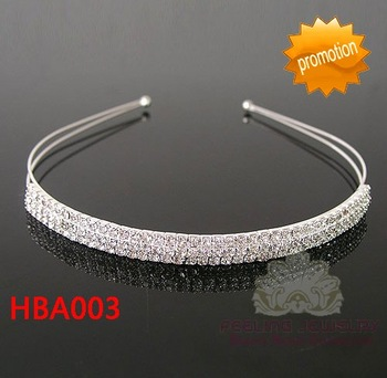 Clear rhinestone three rows headband crystal 3-row hairband three layers chaton pageant alloy hair band 60pcs/lot free shipping
