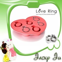 Free Shipping New Love Ring Ice Tray Cube Mould Mold Silicone Ice Mould Box