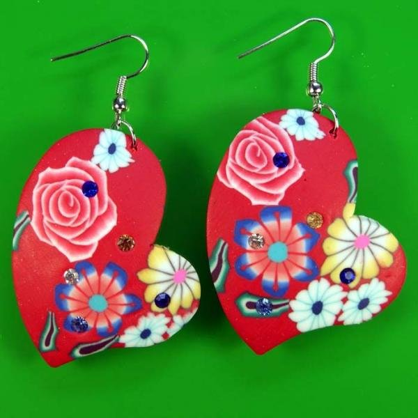 low-cost wholesale RED Blue Flower Soft Ceramic Clay Heart Earrings(China (Mainland))