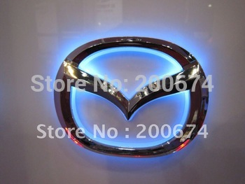 Free Shipping !  .Car LED Badge light, auto LED light car led logo for MAZDA size of 10.1cm X 7.9cm
