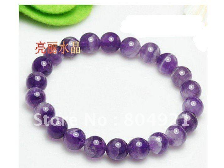Pulseira Frete Grátis / pulseira 20pcs/lot/crystal / ametista / resistir pulseira pneu / pulseira bruto / fevereiro de pedra de nascimento(China (Mainland))