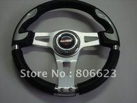 Sport Steering silver spoke,black PVC , black stitching, silver plastic circle