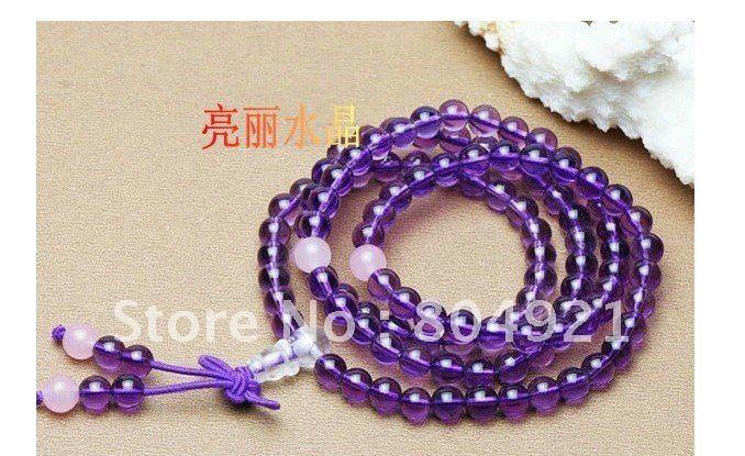 Frete Grátis / 10pcs / lot / bracelete de cristal / ametista pulseira / pulseira resistir pneu / pulseira bruto / fevereiro de pedra de nascimento(China (Mainland))