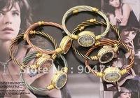 2011 new fashion Single gold thread round dial Quartz watches/kids cartoon watches/bangle watches/children watches/6color