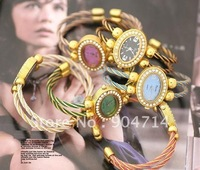 2011 new fashion double gold thread oval dial Quartz watches/kids cartoon watches/bangle watches/children watches/6color