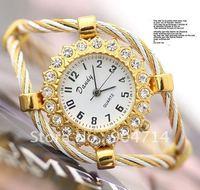 2011 new fashion double gold thread round dial diamondQuartz watches/kids cartoon watches/bangle watches/children watches/4color