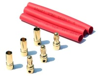 Free Shipping Wholesale 10 Sets/lot 4.0 mm Gold Plated Bullet Connectors with heat shrink tube