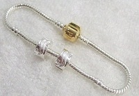 Good Free shipping Fashion Jewelry 925 Silver Clip Beads 925 Silver Bracelets 22CM Wholesale 15pieces/lot+gifts