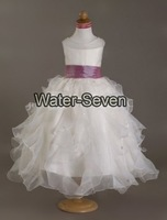 A-line Scroop Ankle-length Satin Organza Flower Girl Dress