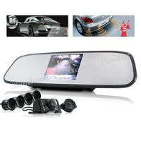 New Arrival Complete Car Reversing Kit - Rearview Camera + Parking Sensor + Rearview Mirror,Free Shipping By UPS DHL EMS