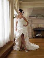 Custom Made 2011 new whoelsale new style Taffeta strapless front short long back wedding dresses